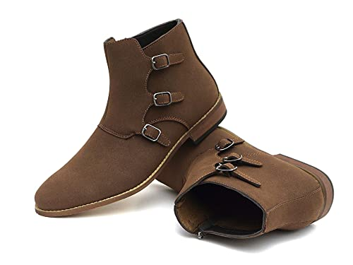 54bd8ea8652 Easy Strider Chelsea Ankle Shoe Boots – Suede Material – Classic Footwear  for Men – Comfortable Rounded Toe – Side Buckles with Zippered ...