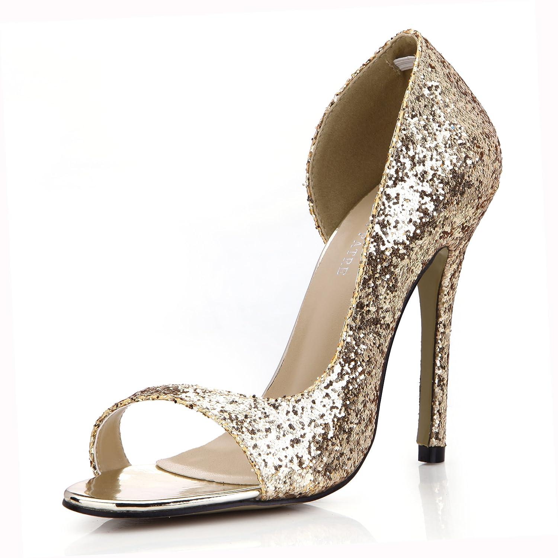 Calzature donna nuovi prodotti abiti da sposa su una terra rossa di alta scarpe tacco lato argento vuoto punta pesce calzature donna, oro