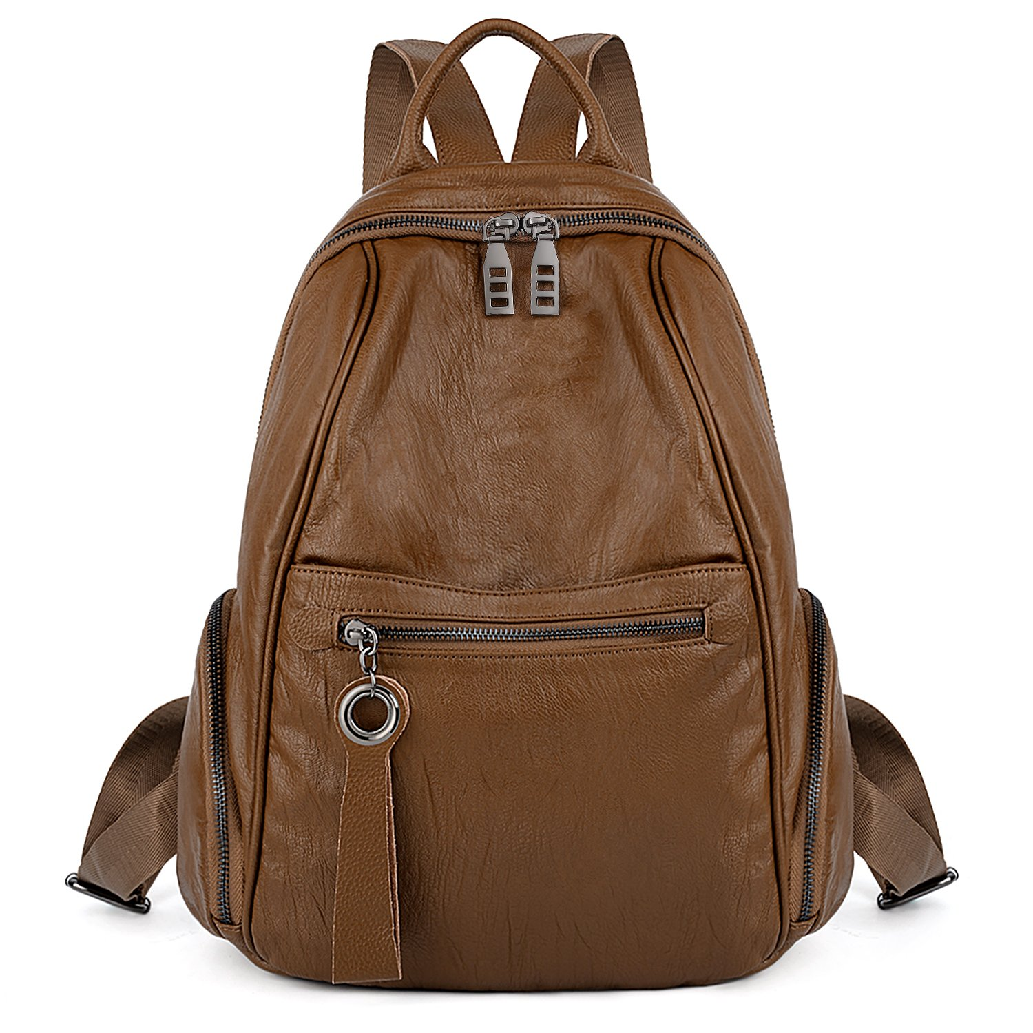 UTO Women Backpack Purse PU Washed Leather Zipper Pockets Ladies Daily Rucksack Shoulder Bag CA 18000417-2ca