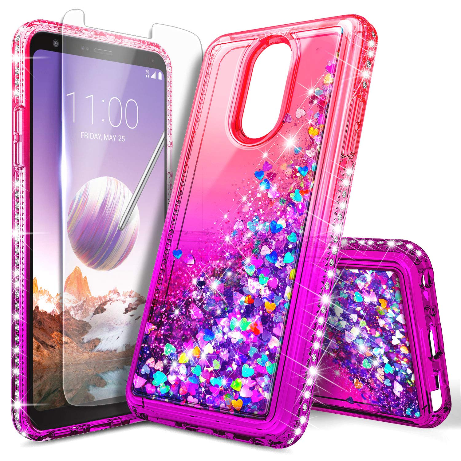 pretty nice 9f422 1ece7 LG Stylo 3 Case (LS777), LG Stylo 3 Plus/Stylus 3 Glitter Case w/[Tempered  Glass Screen Protector], NageBee Sparkle Bling Liquid Floating Quicksand ...