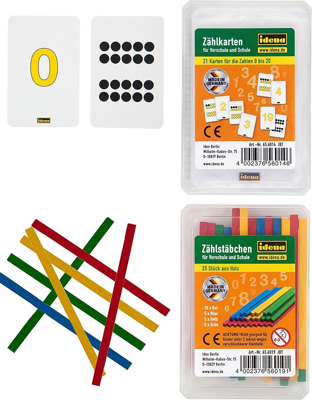 Idena 656014 Zählkarten, 21 Stück, Zahlen von 0-20 Idena 656014 Zählkarten 21 Stück