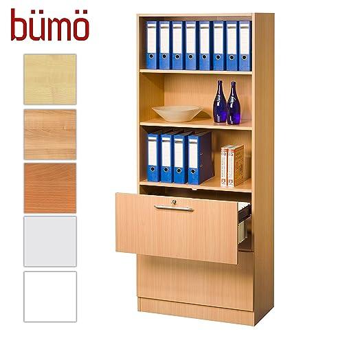 Büroschrank holz  Bümö® Office Hängeregistratur-Regal Schrank abschließbar aus Holz ...
