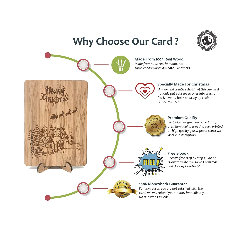 Amazon.com : Merry Christmas Post Cards : Real Bamboo Happy Holidays ...