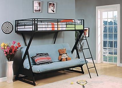 64f3ef68f0fa Amazon.com: Acme Furniture 37134 Zazie Twin Over Full/Futon Bunk Bed ...