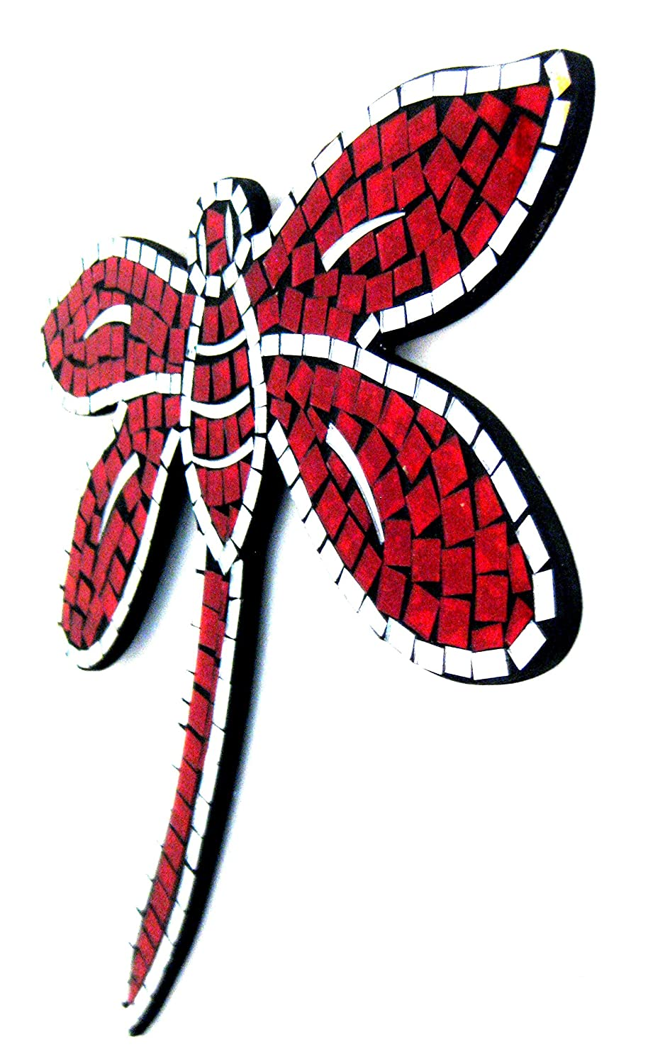 Oma Dragonfly Shaped Mosaic Wall Hanging Decor Dragon Fly Mirror – RED