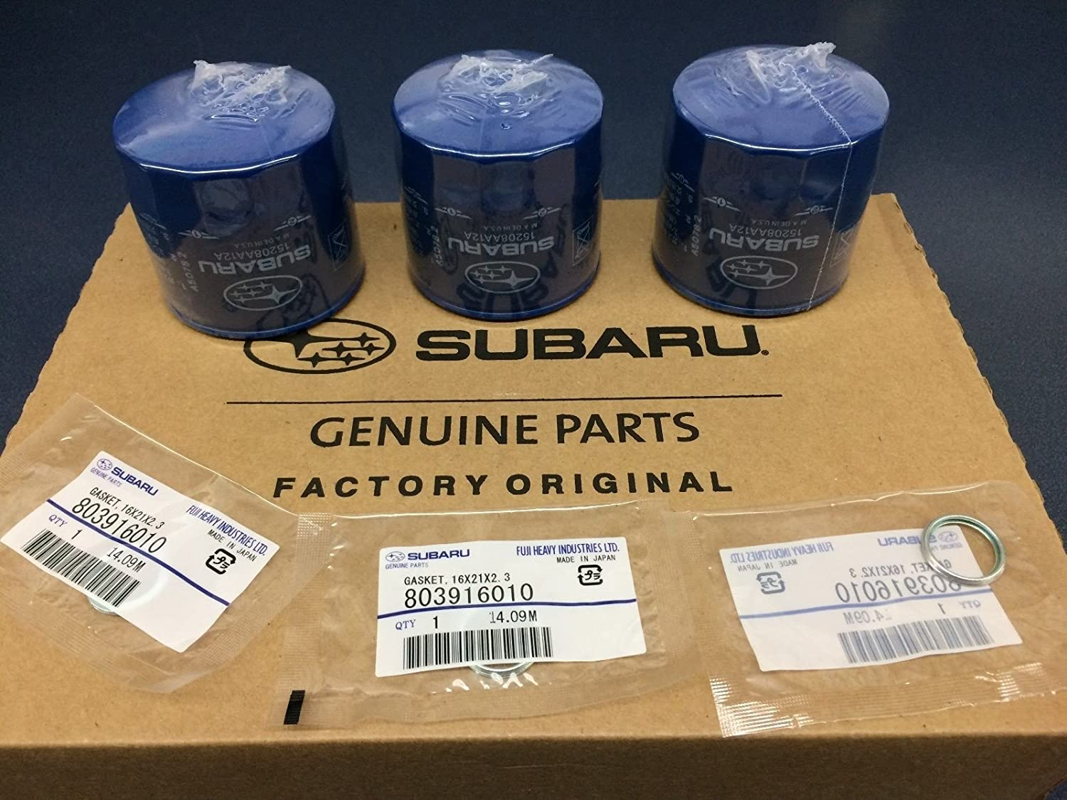 OEM 1990-2018 Subaru Engine Oil Filter /& Gasket Set x3 15208AA12A /& 11126AA000