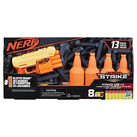 Nerf Alpha Strike Fang QS-4 Targeting Set, 13-Piece Set Includes Toy Blaster, 4 Half-Targets,…