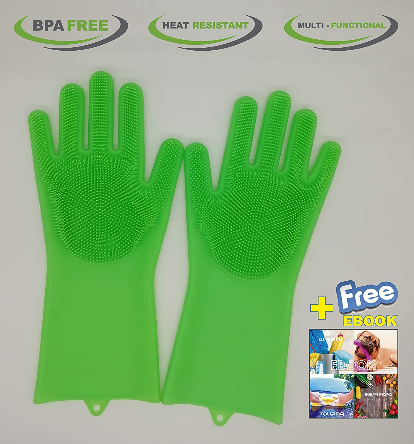 Magic Silicone Washing Gloves, Scrubber Dishwashing, Heat Resistant, Durable,1 Pair, Easy to Clean, Reusable, Multipurpose for Kitchen, Bathroom, Bed Room, Car Wash, Pet Hair Care (Green)