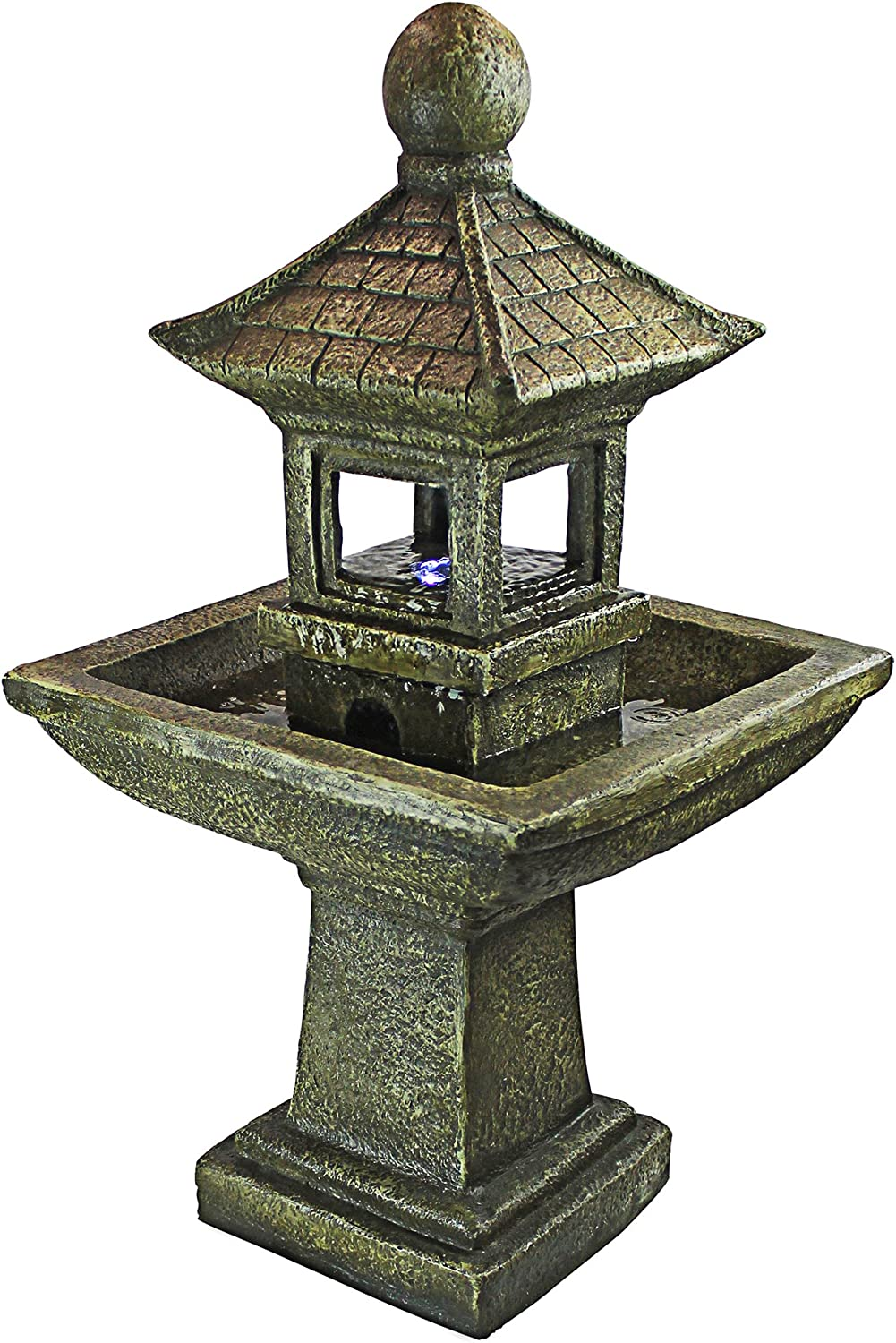 Design Toscano QN1509 Sacred Space Pagoda Illuminated Garden Fountain, 35 Inch, Faux Stone