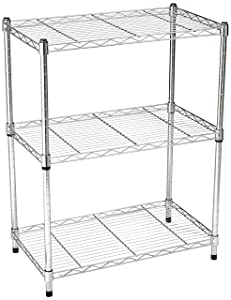 AmazonBasics 3-Shelf Shelving Unit - Chrome (Renewed)