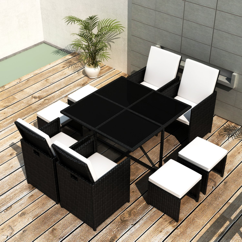SSITG Poly Rattan Gartenmöbel Essgruppe Gartengarnitur Set Sitzgruppe Sessel Lounge
