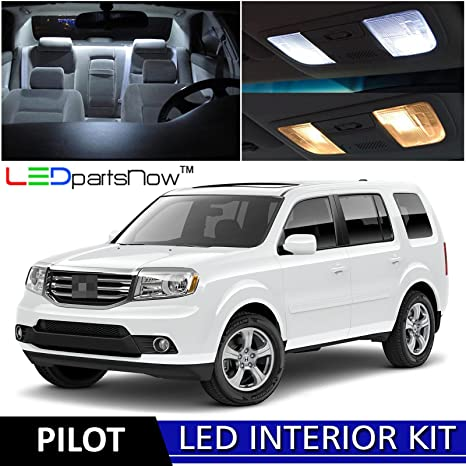 LEDpartsNow 2009 2015 Honda Pilot LED Interior Lights Accessories  Replacement Package Kit (17 Pieces