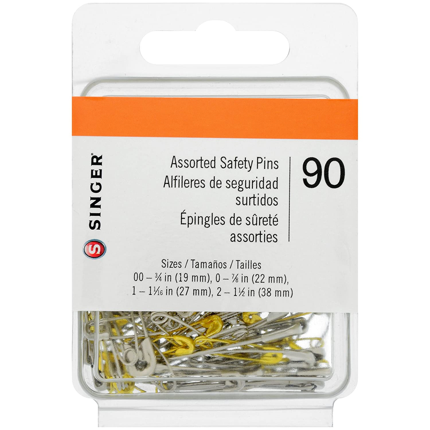 Singer Asst Safety Pins, Multisize, 90-Count, Size 00-2 Pkg Dyno Merchandise 00221