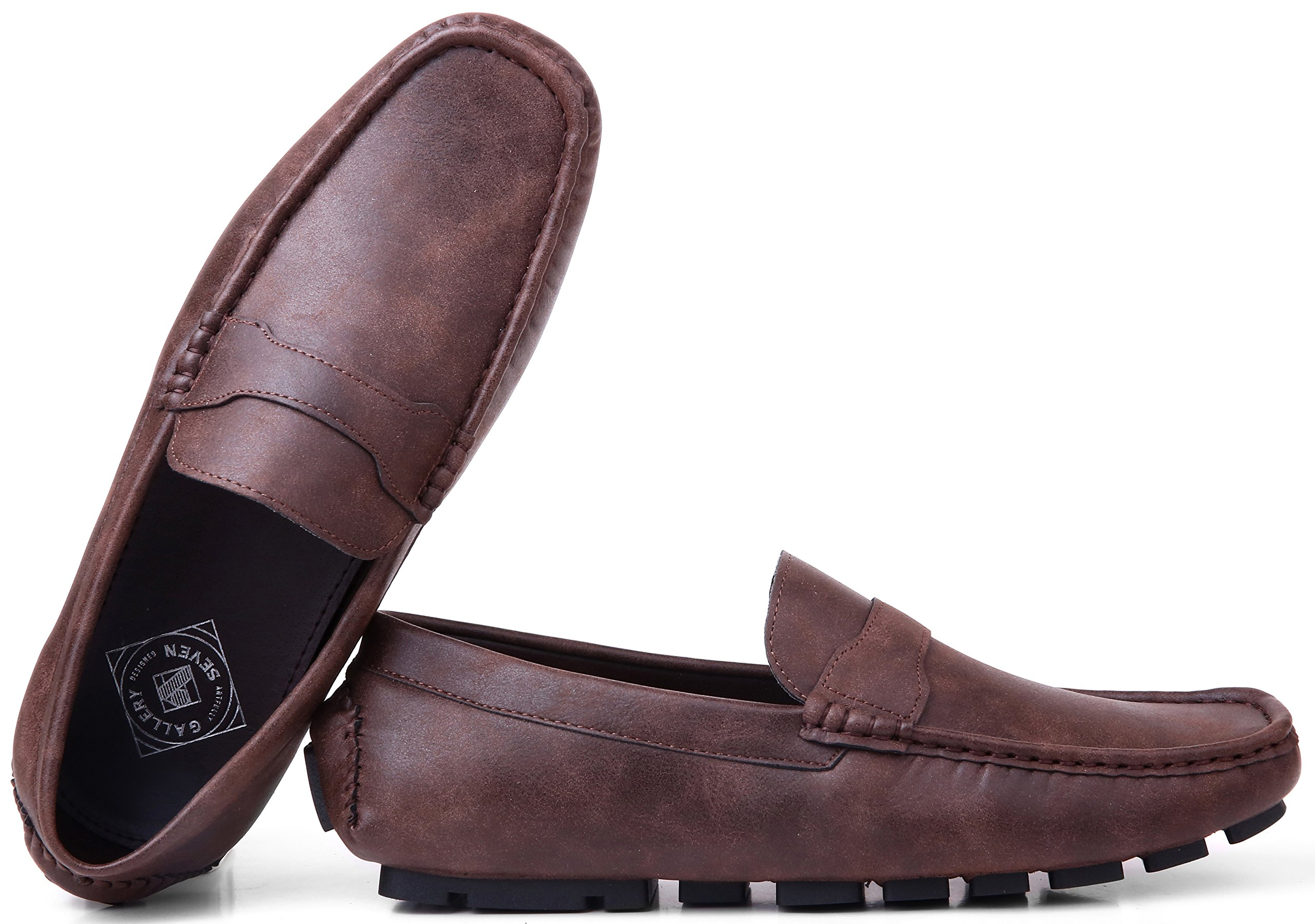 Gallery Seven Driving Shoes for Men - Casual Moccasin Loafers - Saddle Brown - US-12D(M)|UK-11.5|EU-45