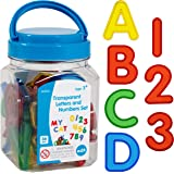 Edx Education Transparent Letters and Numbers Set - Mini Jar - Colorful, Plastic Letters and Numbers - Light Box…