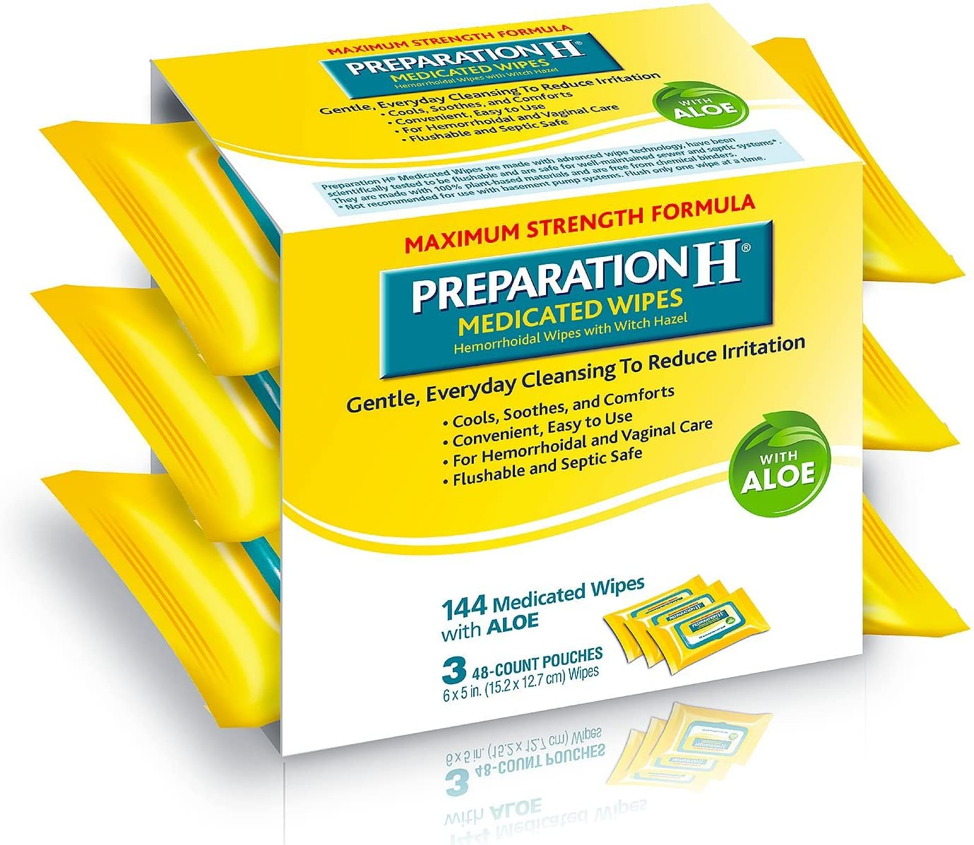 Preparation H Medicated Wipes 144 Count