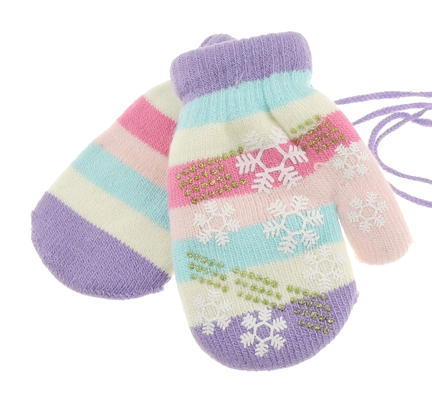 Snowflake Stripy Baby Girls Boys Warm Winter Mittens 6-24 Months Lilac Glamour Girlz