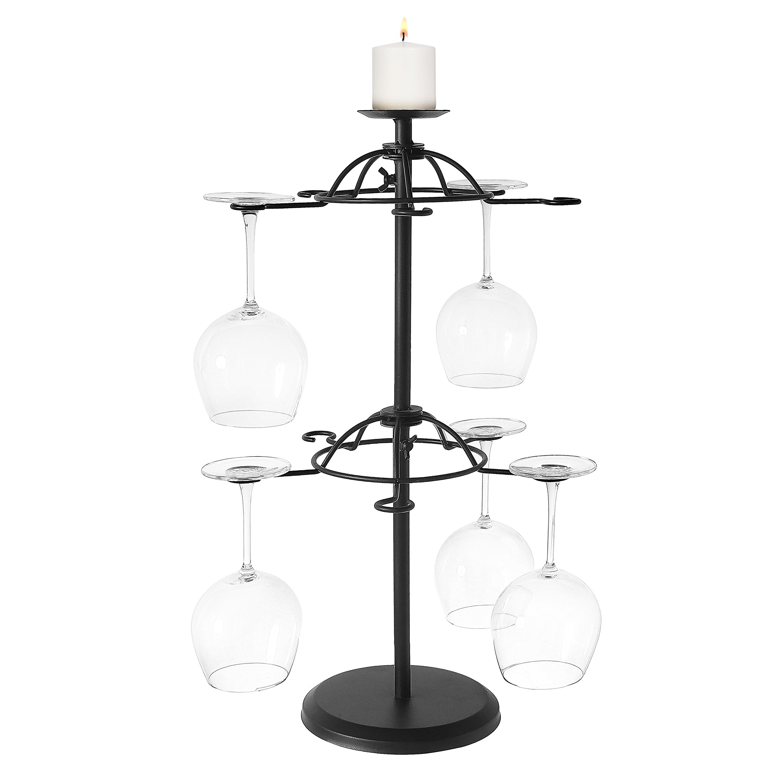 Rotating 2-Tier Modern Matte Black Metal Tabletop 10 Wine Glass Holder Rack with Candleholder