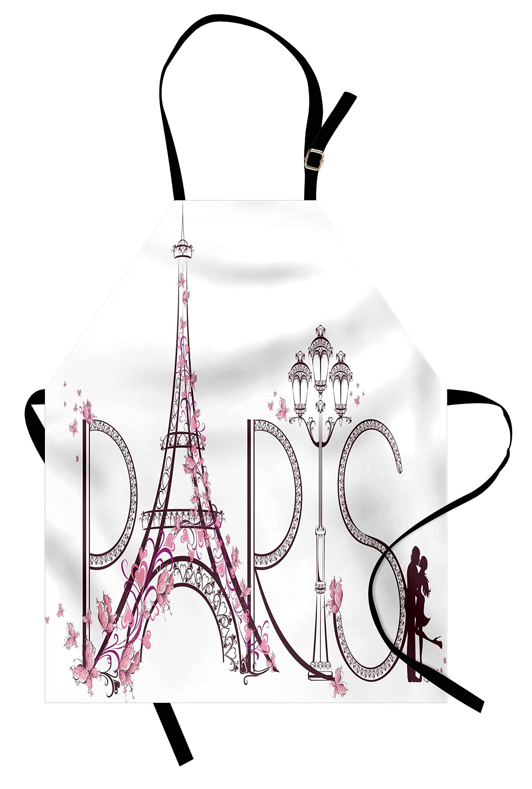 Lunarable Paris Apron, Tower Eiffel with Paris Lettering Couple Trip Flowers Floral Artful Design Print, Unisex Kitchen Bib Apron with Adjustable Neck for Cooking Baking Gardening, Plum Pale Pink