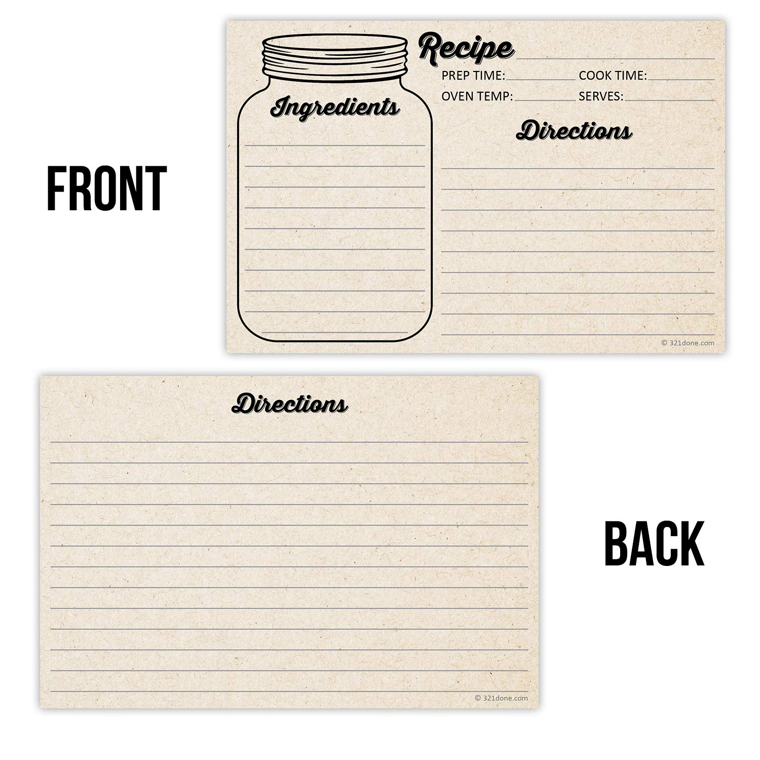 Recipe Cards Cupcake Design Double Sided 4x6 inch Pack of 50