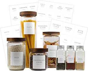 Brook & Meadow Kitchen Pantry Labels & Spice Labels- (75 Labels) 48 Spice Jar Labels & 27 Labels for Food Containers- Preprinted Waterproof, Pantry Labels & Food Stickers for Pantry Organization
