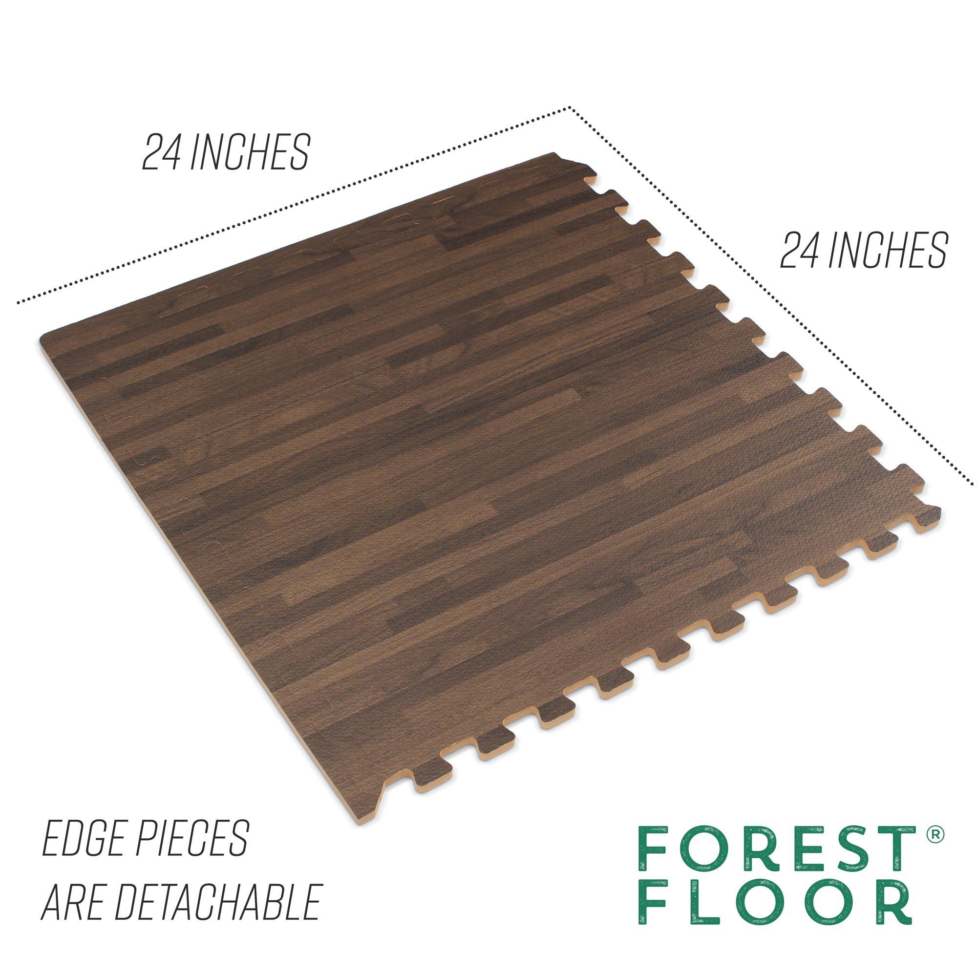 Forest Floor 3/8'' Thick Printed Wood Grain Interlocking Foam Floor Mats, 16 Sq Ft (4 Tiles), Walnut by Forest Floor (Image #4)