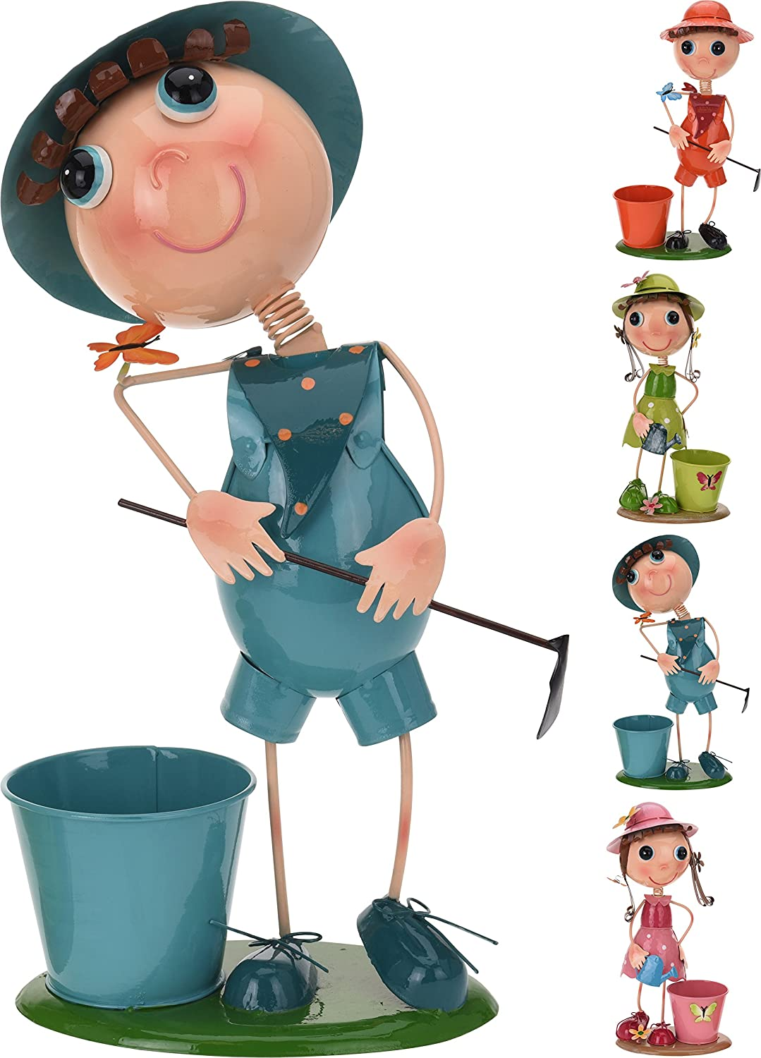 Elyte Retail Wobbly Bobbly Metal Garden Figurine Planter - Boy Or Girl - In 4 Colours With a Planter (Blue Boy)