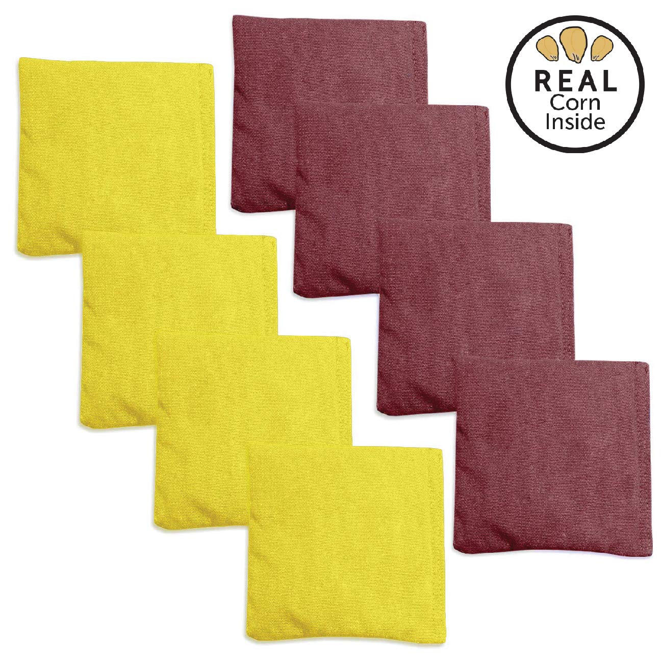 Corn Filled Cornhole Bags - Set of 8 Bean Bags for Corn Hole Game - Regulation Size & Weight - Burgundy & Yellow