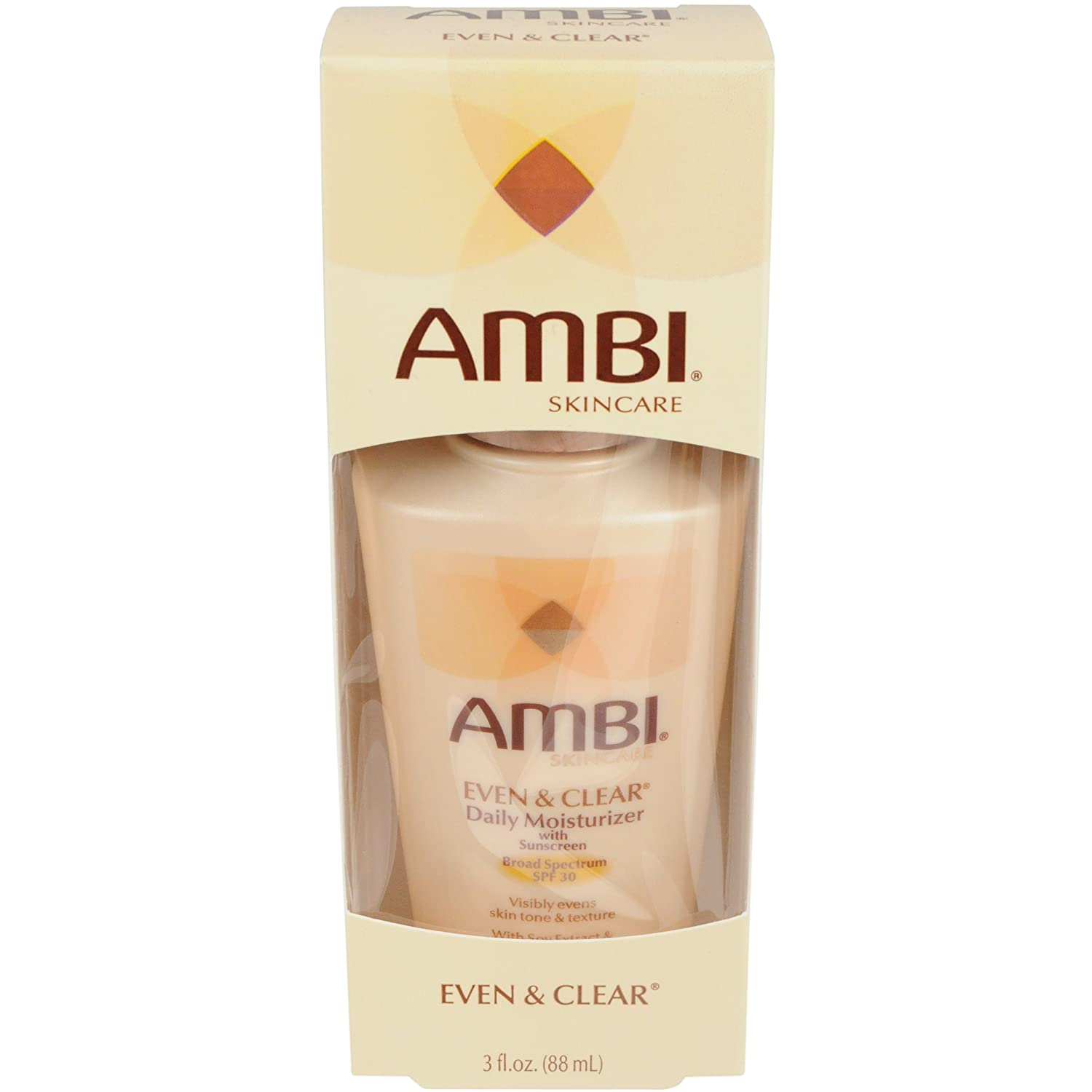 Ambi Skincare Even & Clear Daily Moisturizer with SPF 30, 3 Ounce (Pack of 2)