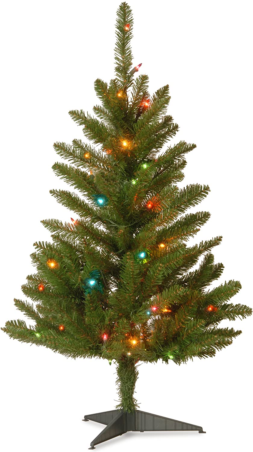 National Tree Company Pre-lit Artificial Mini Christmas Tree | Includes Multi-Color Lights and Stand | Kingswood Fir Pencil - 3 ft