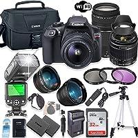 Canon EOS Rebel T6 DSLR Camera Bundle w/Canon EF-S 18-55mm is II Lens & EF 75-300mm f/4-5.6 III Lens + 32GB Sandisk Memory + Canon Case + TTL Speedlight Flash (Good Upto 180 Feet) + Accessory Bundle