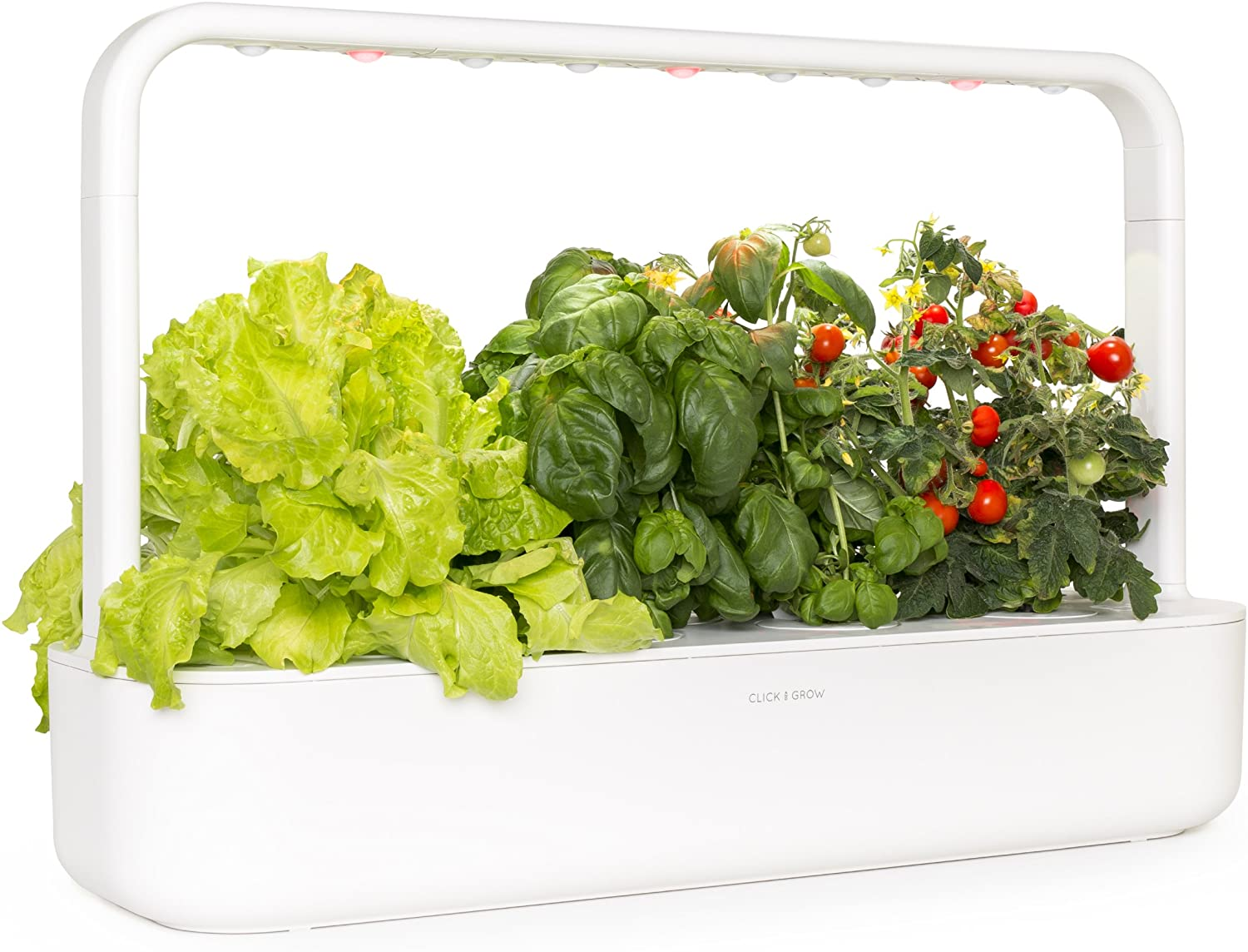 Click and Grow Smart Garden 9 Indoor Home Garden Includes 3 Mini Tomato, 3 Basil and 3 Green Lettuce Plant pods , White