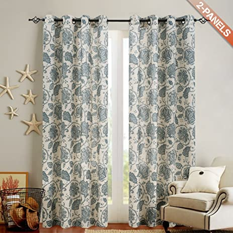 Floral Scroll Printed Linen Curtains, Grommet Top   Ikat Flax Textured  Medallion Design Retro Living