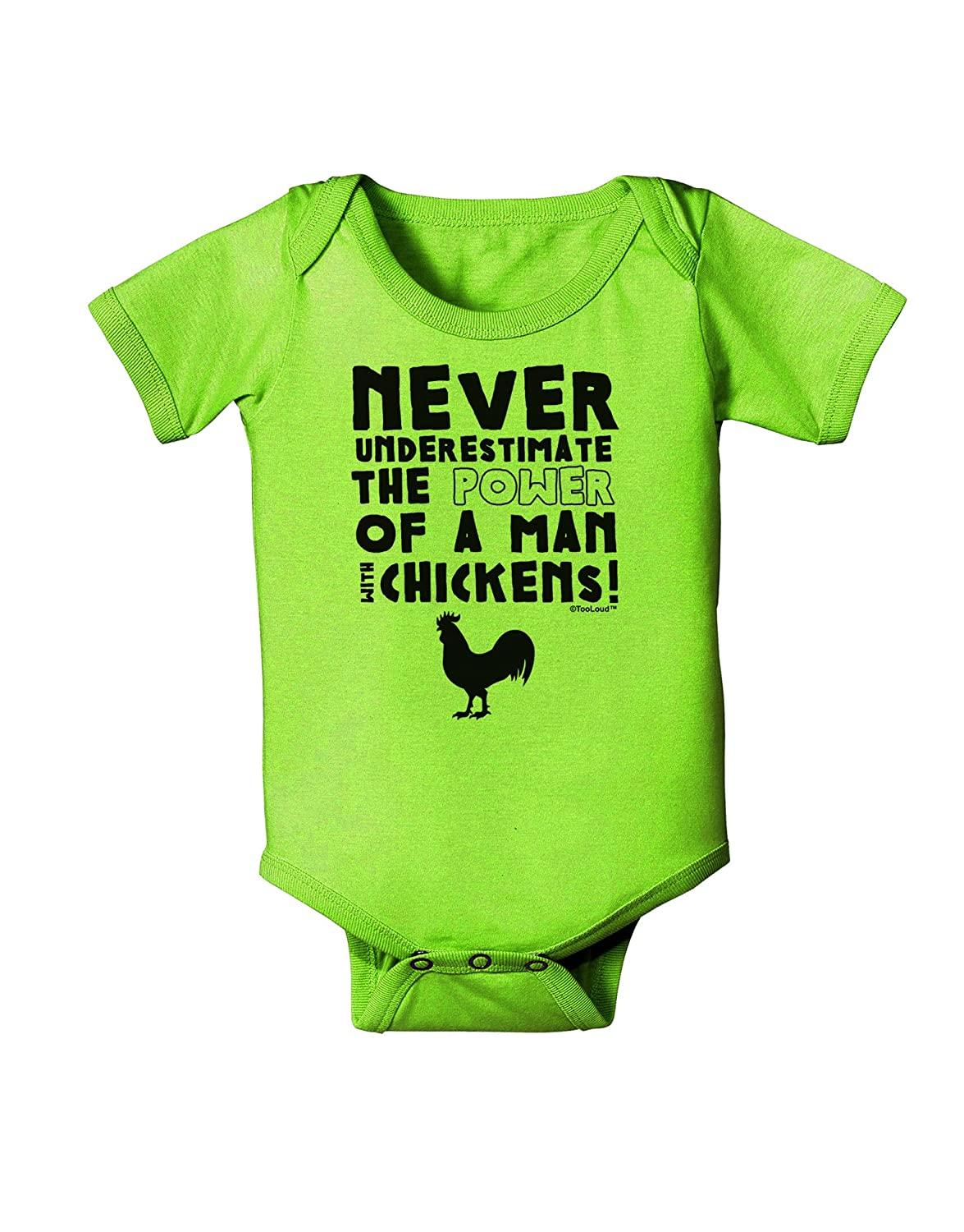 TooLoud A Man with Chickens Baby Romper Bodysuit