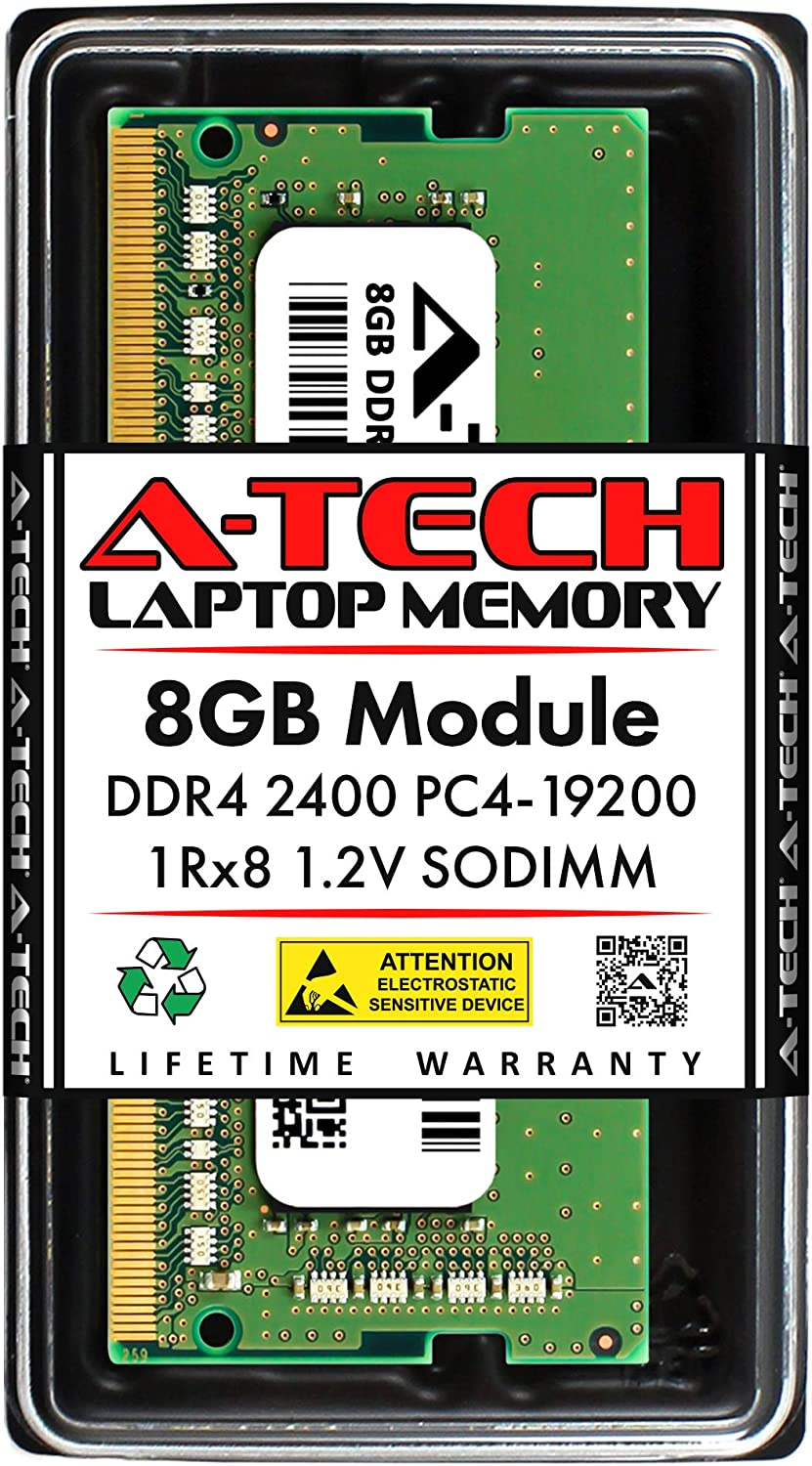 A-Tech 8GB DDR4 2400MHz SODIMM PC4-19200 1Rx8 Single Rank 260-Pin CL17 1.2V Non-ECC Unbuffered Notebook Laptop RAM Memory Upgrade Module