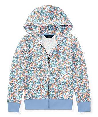 8464cab4beb3a Ralph Lauren Polo Girls Floral Print Terry Hoodie Sweatshirt (Small 7) Blue