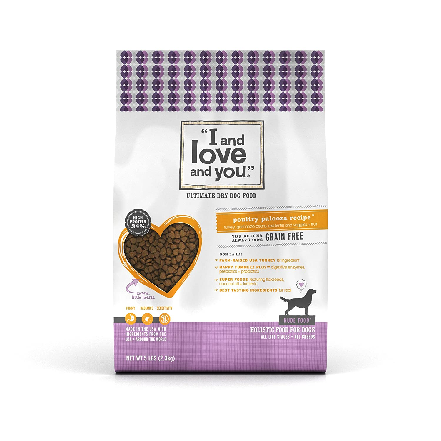 """I and love and you"" Nude Food Poultry Palooza Grain Free Dry Dog Food, 5 LB"