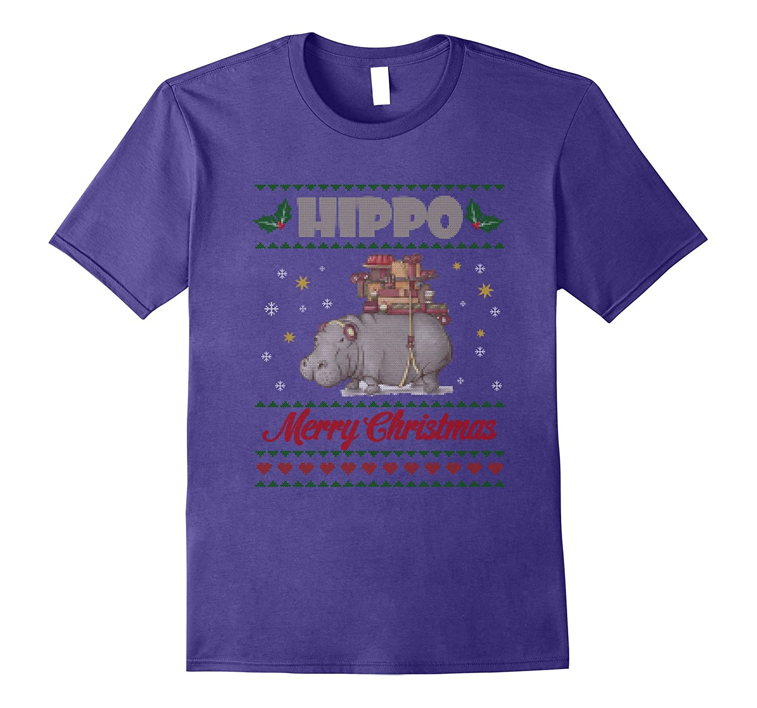 Hippo Merry Christmas T-shirt Animals Lovers-ANZ