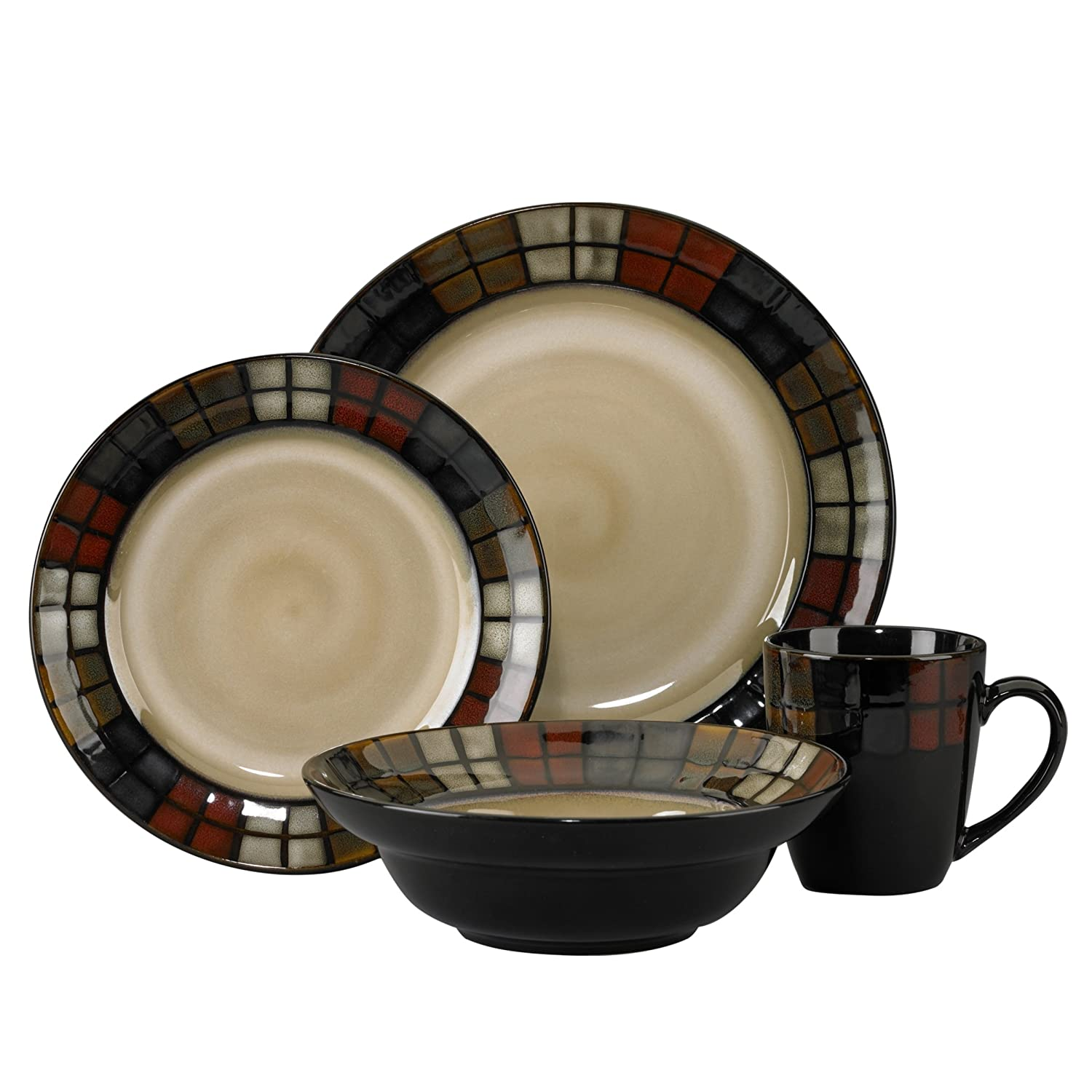 Amazon.com | Pfaltzgraff Everyday Calico 16-Piece Dinnerware Set ...
