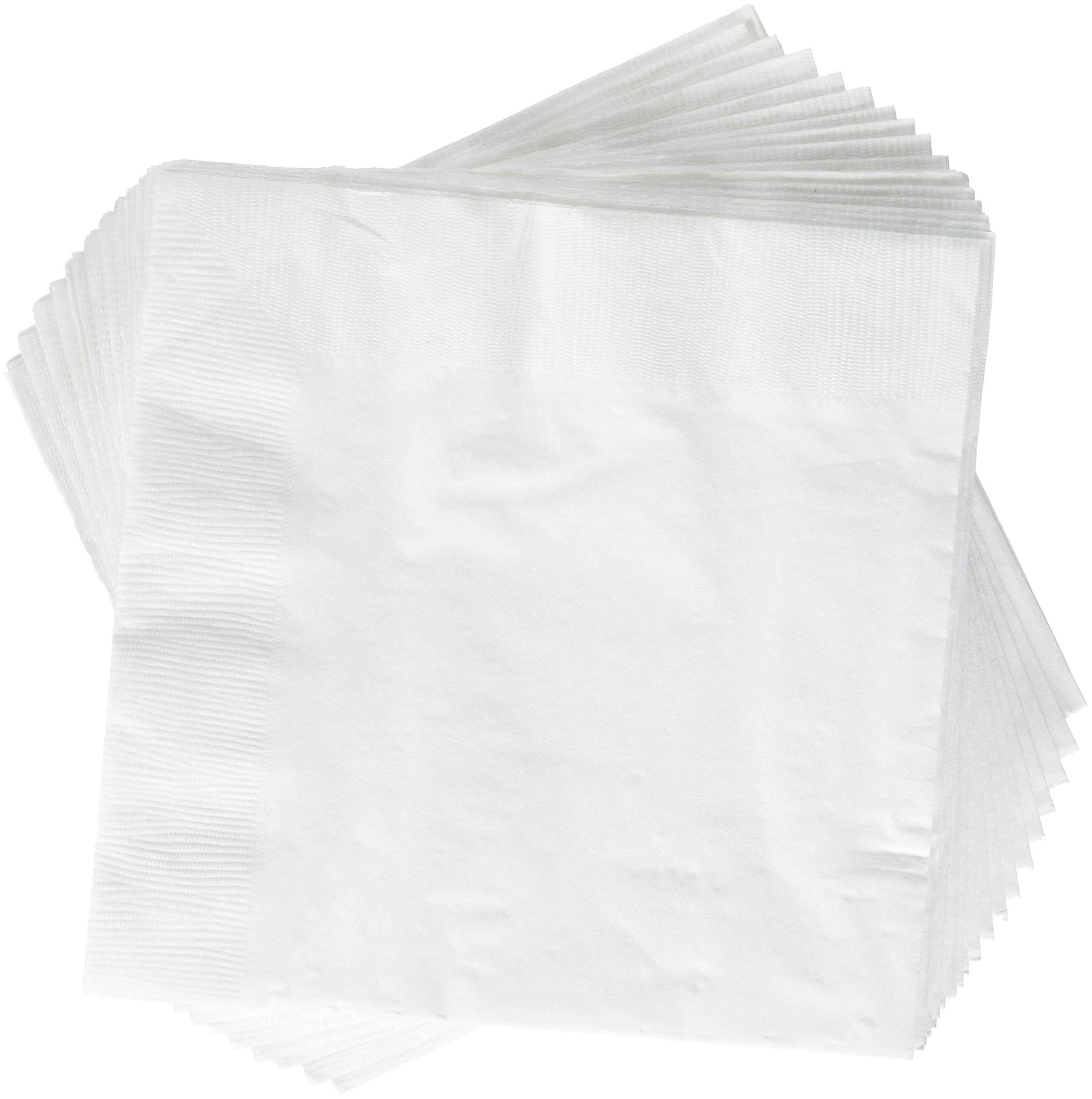 Disposable Party 2-Ply Dinner Napkins , White, Paper , 7'' x 7'', Pack of 20