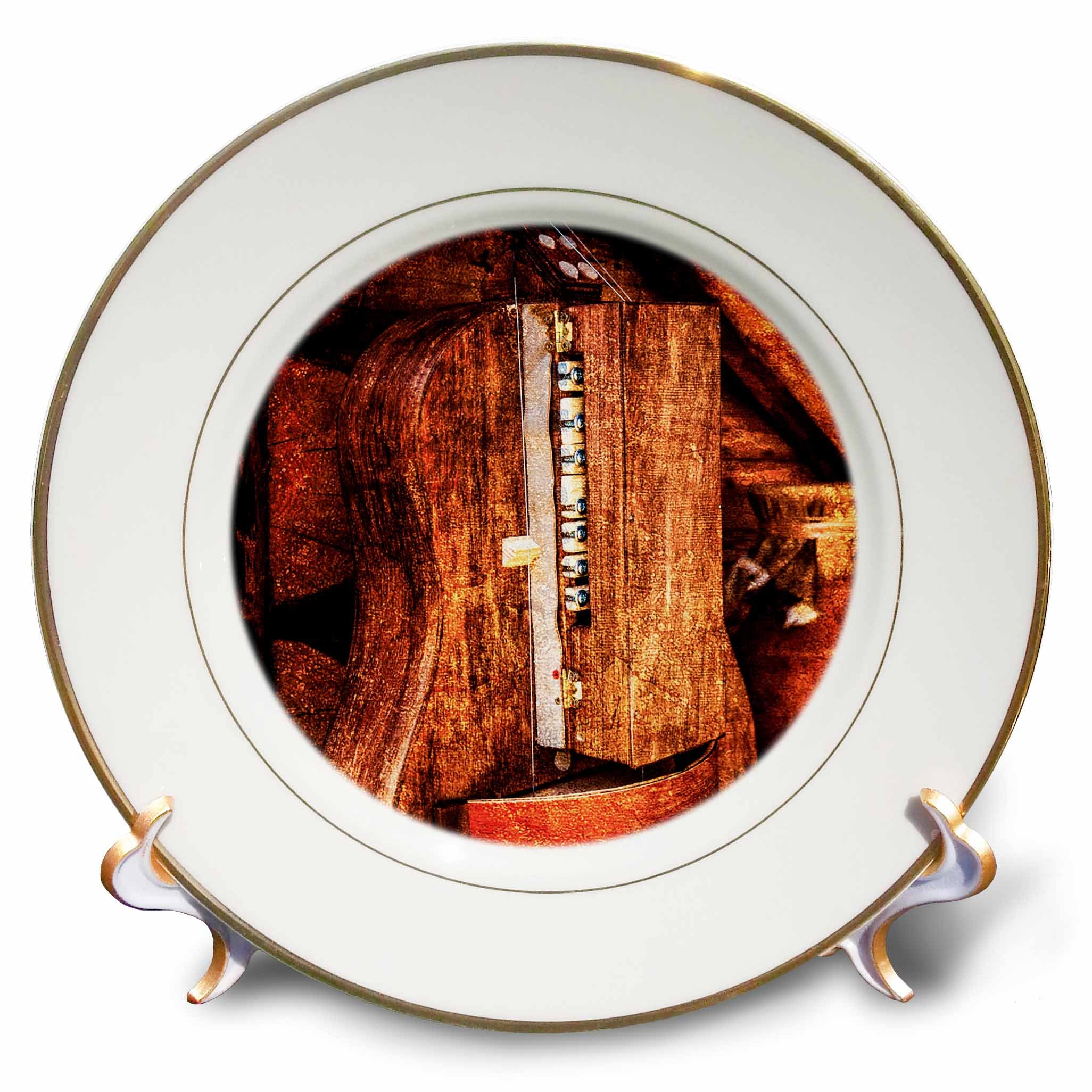 3dRose Alexis Photography - Objects - Golden age technologies - Hurdy-gurdy or lira tedesca. Stylized photo - 8 inch Porcelain Plate (cp_270872_1)