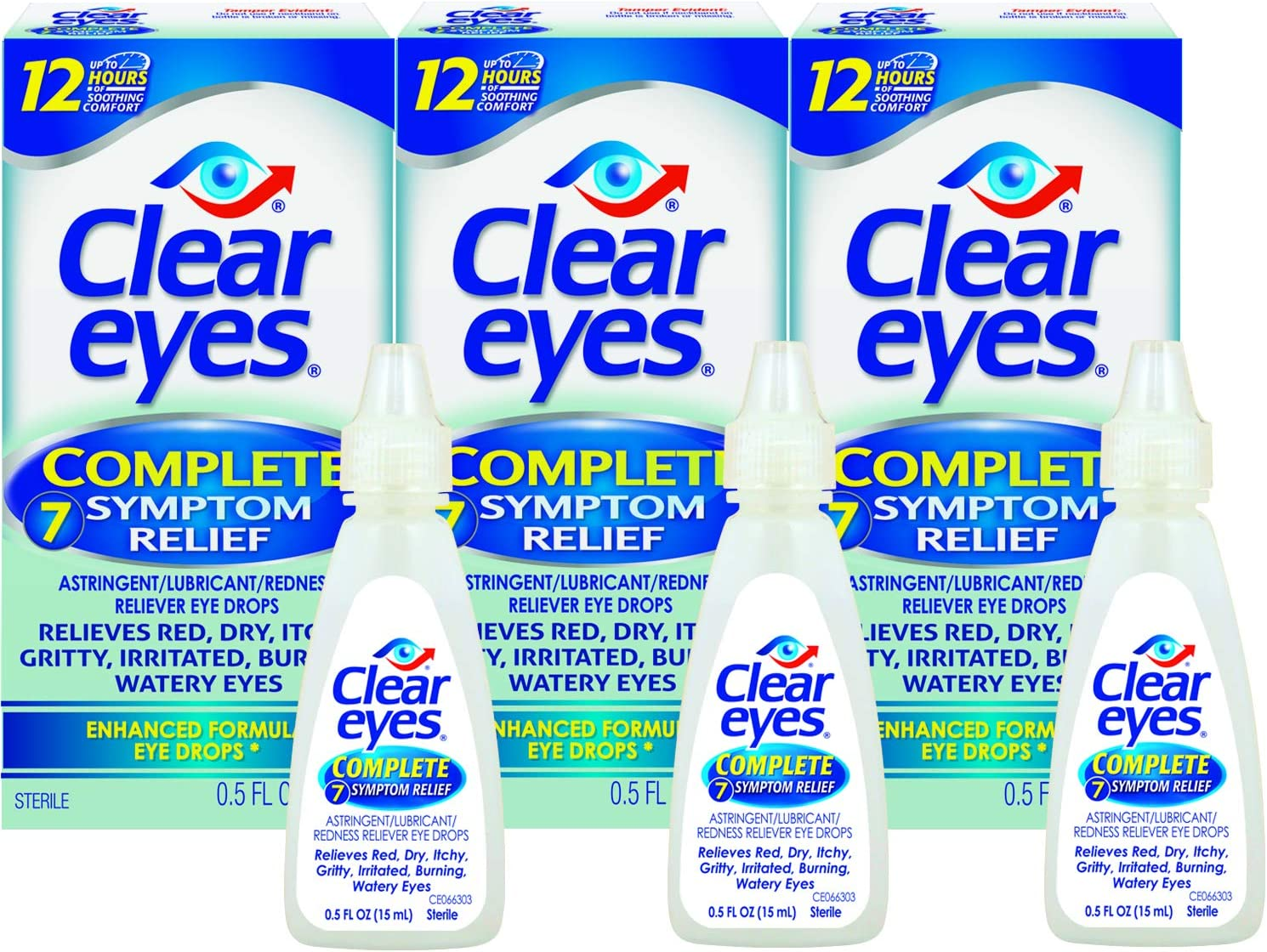 Clear Eyes | Complete 7 Symptom Relief Enhanced Formula Eye Drops | 0.5 FL OZ | Pack of 3