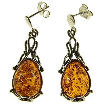 b876733be3fcf Amazon.com: Baltic amber and sterling silver 925 designer cognac ...
