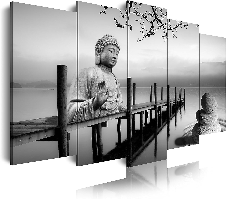 DekoArte 0019 Cuadros Modernos Impresión de Imagen Artística Digitalizada, Lienzo Decorativo para Tu Salón o Dormitorio, Estilo Buda Zen Paisaje en Blanco y Negro, Grises, 5 Piezas (150x80x3cm)
