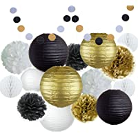 Happy New Year Party Decorations Black White Gold Tissue Paper Pom Pom Paper Lantern Paper Honeycomb Balls Polka Dot Garland for Great Decorations/New Year's Eve Party/Birthday Decorations/Shower