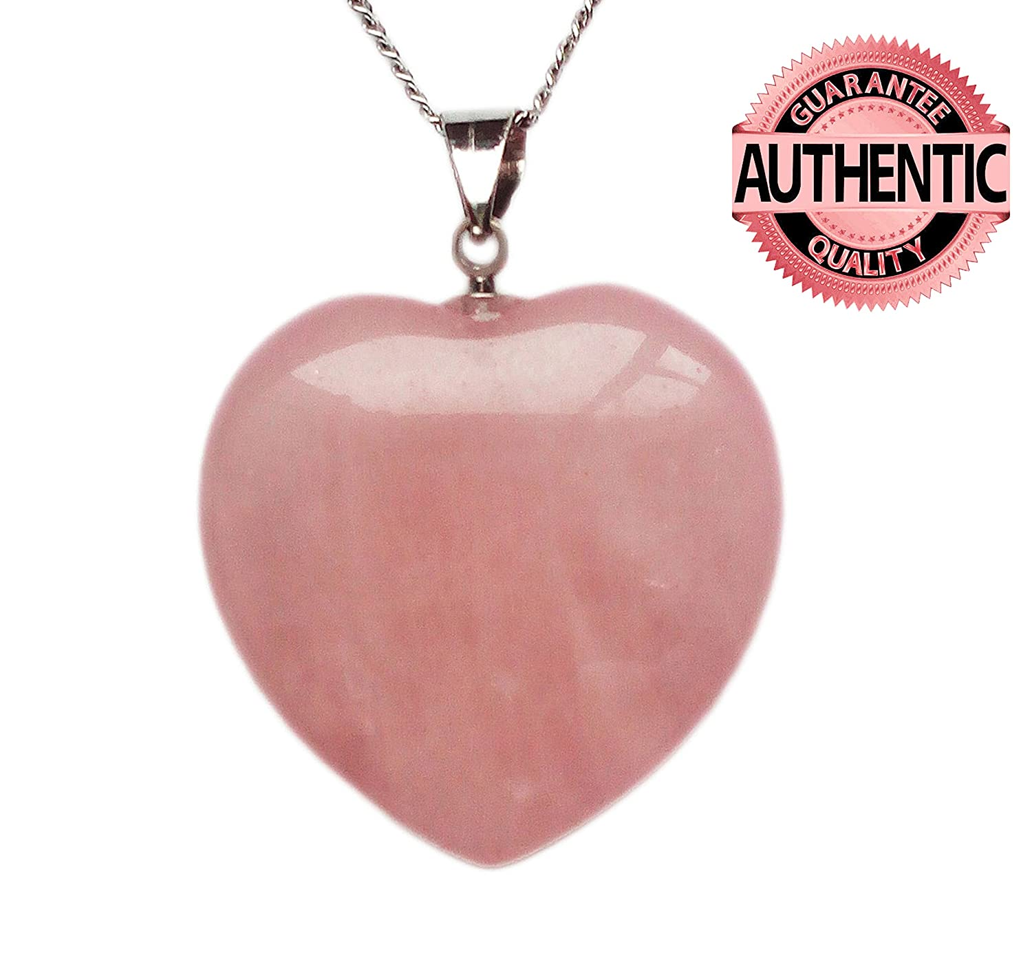 ed33a5427 Amazon.com: Rose Quartz Crystal Pendant Necklace, Puffy Heart Shape, with  18