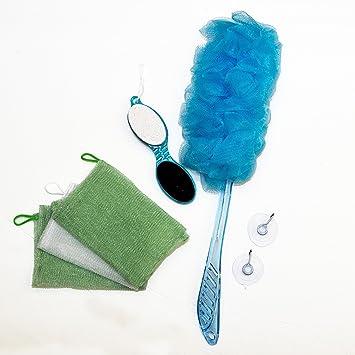 Best 7 Piece Blue Bath Shower. Back Scrubber Loofah Luffa Mesh Pouf Sponge  Pumice Stone