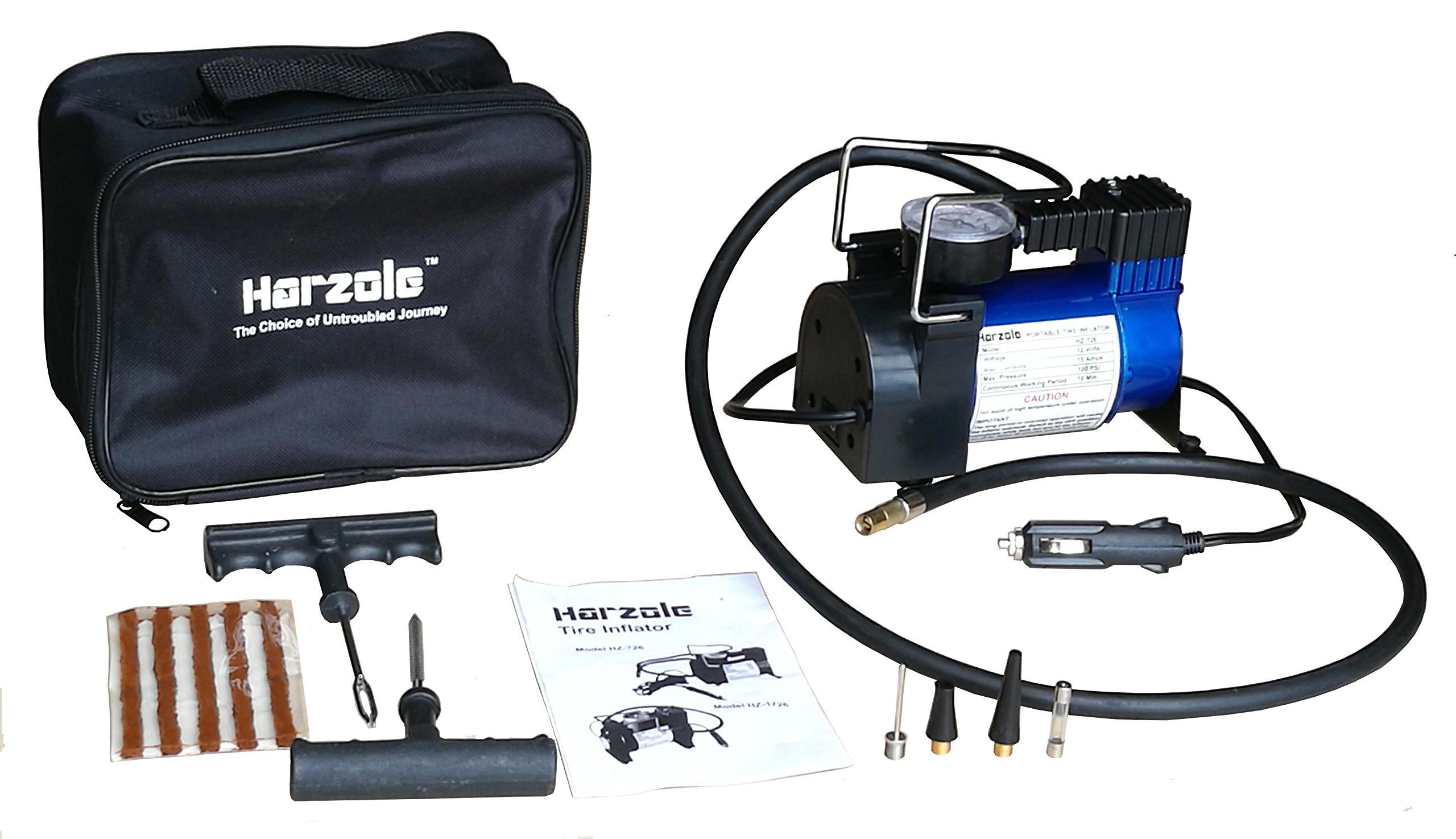 Harzole HZ-726B DC 12V Car Air Pump, Tire Inflator, Portable Air Compressor Kit HZ-726 with tire Repair kit HZ-420B