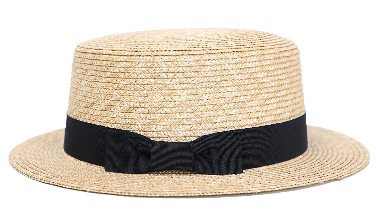 a7913c19634267 RIONA Women's Natural Straw Boater Hat Flat Top Summer Beach Sun Hat UPF 50+  at Amazon Women's Clothing store: