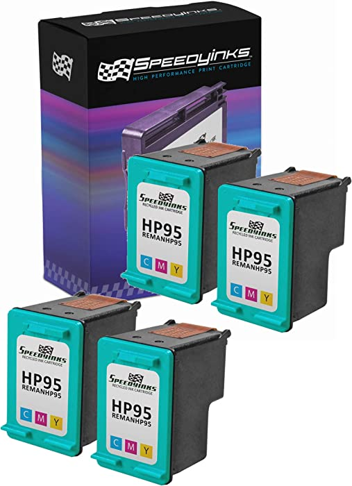 Speedy Inks Remanufactured Ink Cartridge Replacement for HP 95 (Tri-Color, 4-Pack)